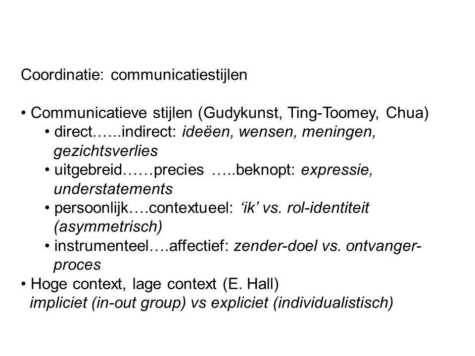 Coordinatie: communicatiestijlen Communicatieve stijlen (Gudykunst, Ting-Toomey, Chua) direct.…..indirect: ideëen, wensen, meningen, gezichtsverlies u