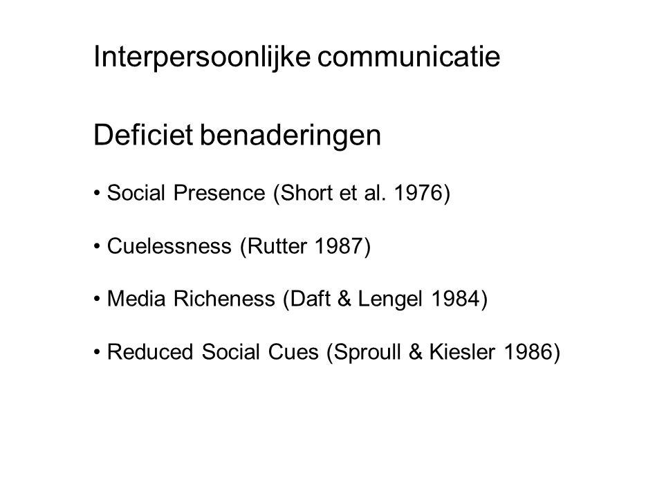 Deficiet benaderingen Social Presence (Short et al. 1976) Cuelessness (Rutter 1987) Media Richeness (Daft & Lengel 1984) Reduced Social Cues (Sproull