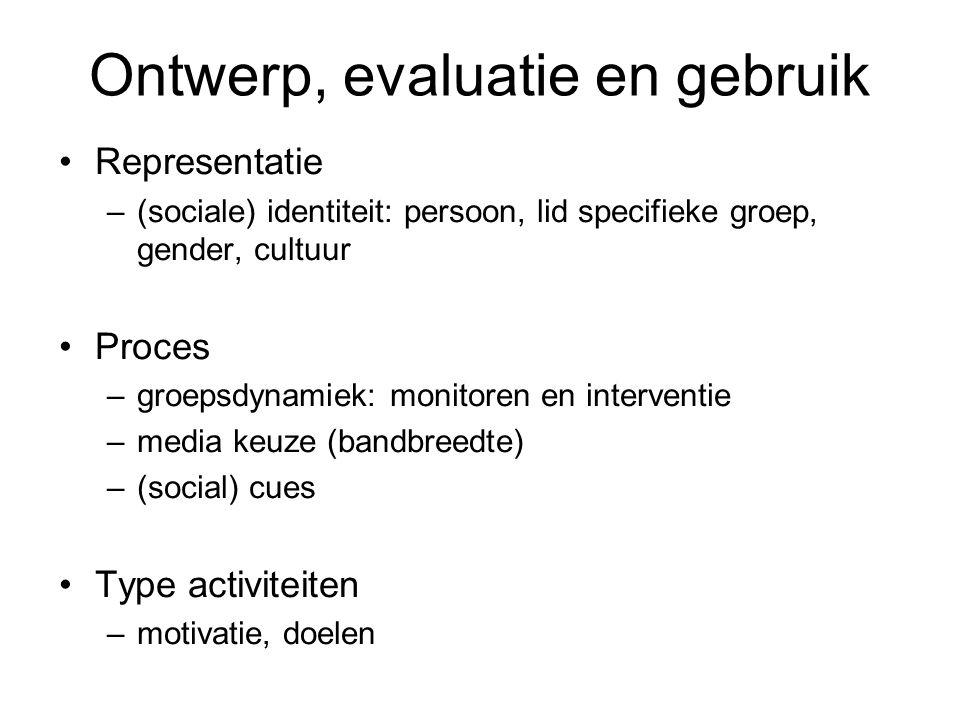 Ontwerp, evaluatie en gebruik Representatie –(sociale) identiteit: persoon, lid specifieke groep, gender, cultuur Proces –groepsdynamiek: monitoren en
