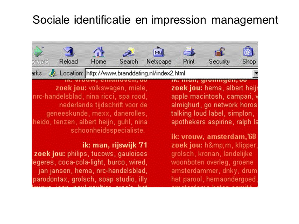 Sociale identificatie en impression management