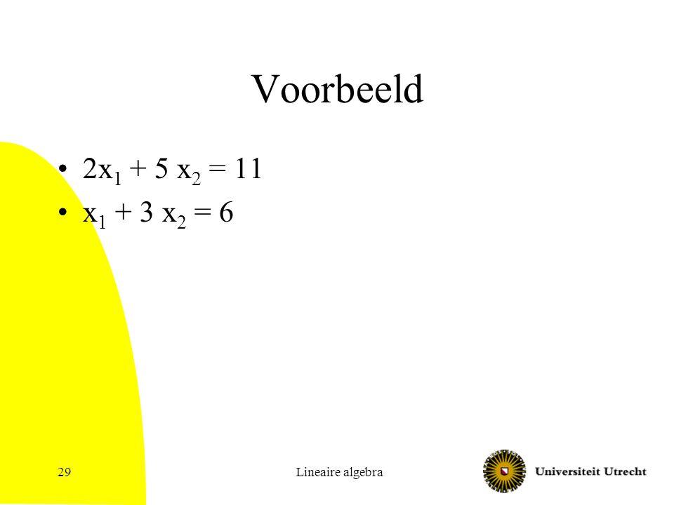 Lineaire algebra30 Vegen Vegen: methode om stelsel vergelijkingen op te lossen Idee: –Herhaal: Neem een variabele zeg x i Zorg dat er maar 1 vergelijking is waar x i in voorkomt, door een van de vergelijkingen een aantal keren van de andere af te trekken