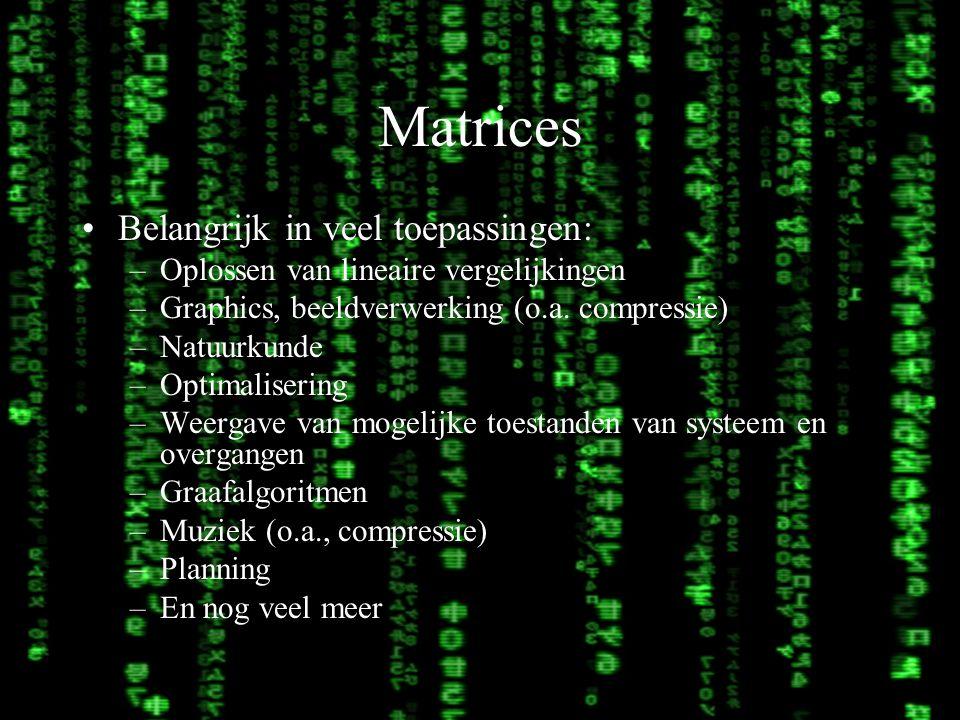 Lineaire algebra3 Matrices Belangrijk in veel toepassingen: –Oplossen van lineaire vergelijkingen –Graphics, beeldverwerking (o.a. compressie) –Natuur