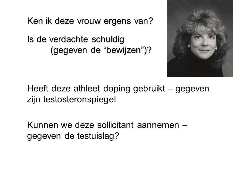 """Ken ik deze vrouw ergens van? Is de verdachte schuldig (gegeven de """"bewijzen"""")? Heeft deze athleet doping gebruikt – gegeven zijn testosteronspiegel K"""