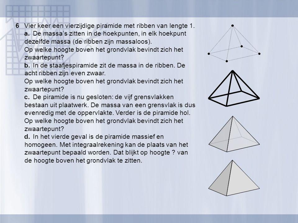 6Vier keer een vierzijdige piramide met ribben van lengte 1. a.De massa's zitten in de hoekpunten, in elk hoekpunt dezelfde massa (de ribben zijn mass