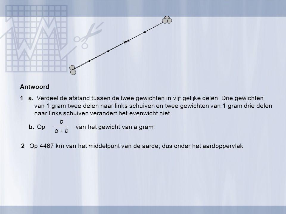 Antwoord 1a.Verdeel de afstand tussen de twee gewichten in vijf gelijke delen. Drie gewichten van 1 gram twee delen naar links schuiven en twee gewich