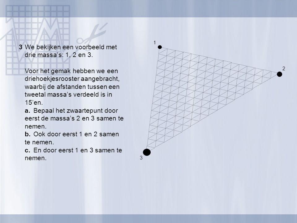 2 1 3 3We bekijken een voorbeeld met drie massa's: 1, 2 en 3. Voor het gemak hebben we een driehoekjesrooster aangebracht, waarbij de afstanden tussen