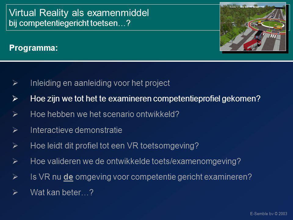 E-Semble bv © 2003 Virtual Reality als examenmiddel bij competentiegericht toetsen…?  Inleiding en aanleiding voor het project  Hoe zijn we tot het
