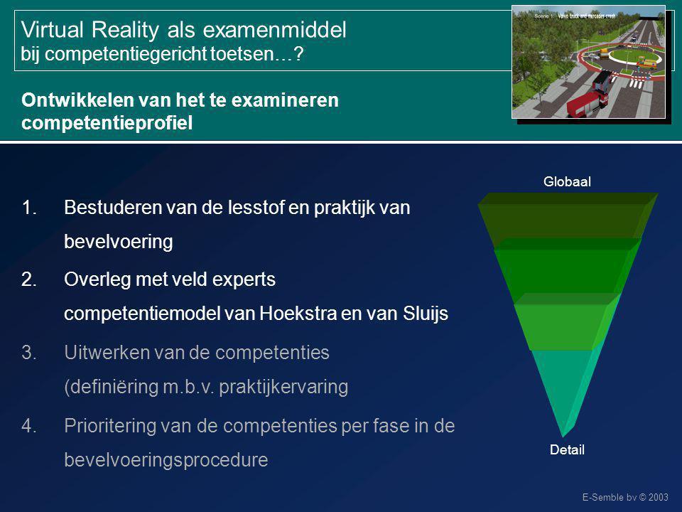 E-Semble bv © 2003 Virtual Reality als examenmiddel bij competentiegericht toetsen…? Ontwikkelen van het te examineren competentieprofiel 1.Bestuderen