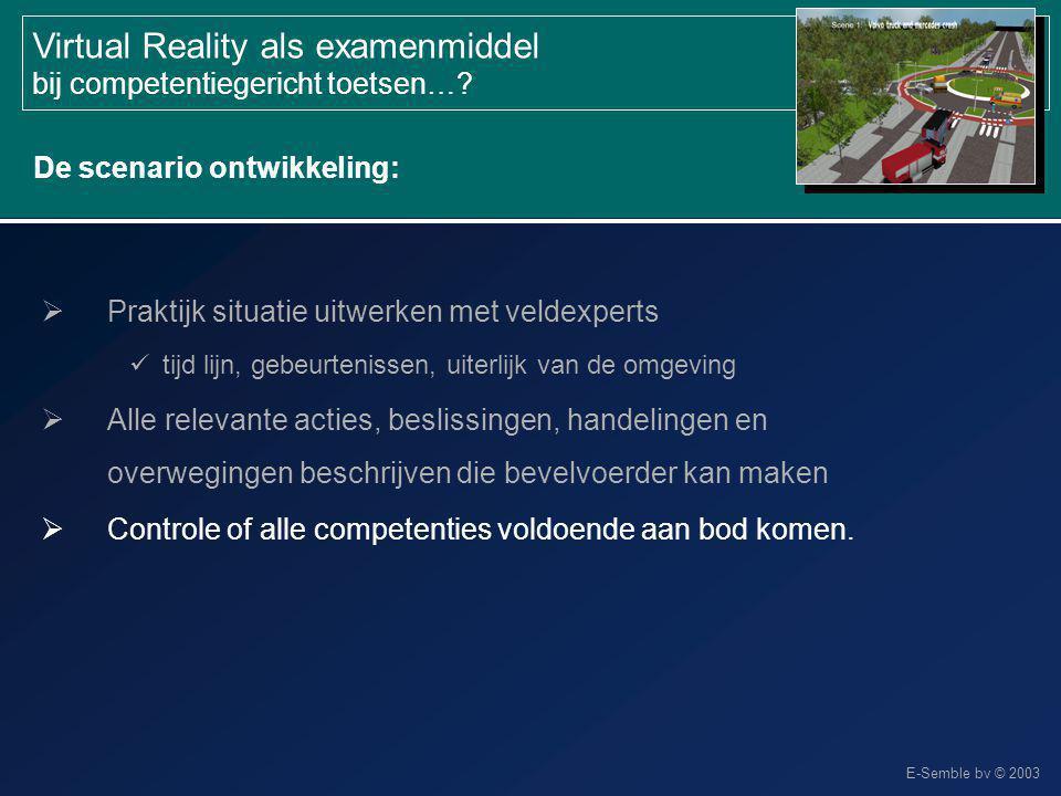 E-Semble bv © 2003 Virtual Reality als examenmiddel bij competentiegericht toetsen…?  Controle of alle competenties voldoende aan bod komen. De scena