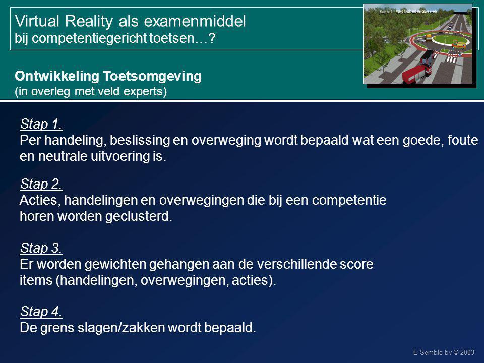 E-Semble bv © 2003 Virtual Reality als examenmiddel bij competentiegericht toetsen…? Ontwikkeling Toetsomgeving (in overleg met veld experts) Stap 1.