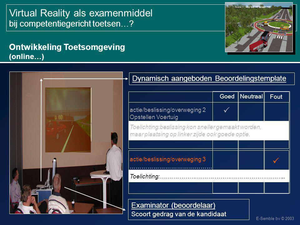 E-Semble bv © 2003 Virtual Reality als examenmiddel bij competentiegericht toetsen…? Ontwikkeling Toetsomgeving (online…) Examinator (beoordelaar) Sco