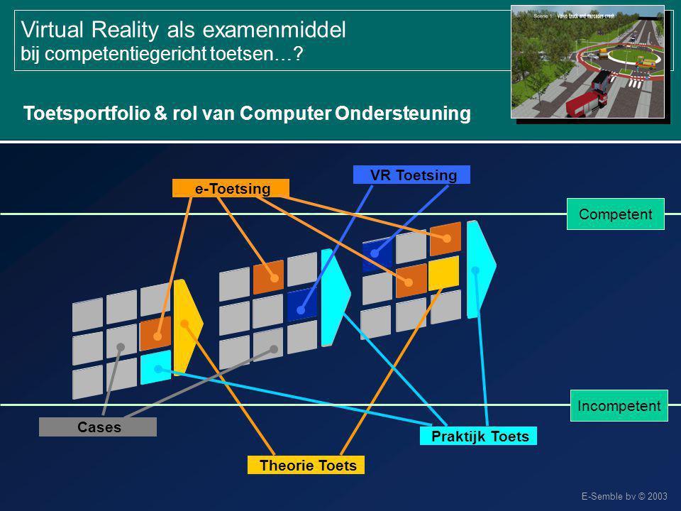 E-Semble bv © 2003 Virtual Reality als examenmiddel bij competentiegericht toetsen…? Toetsportfolio & rol van Computer Ondersteuning Theorie Toets Pra