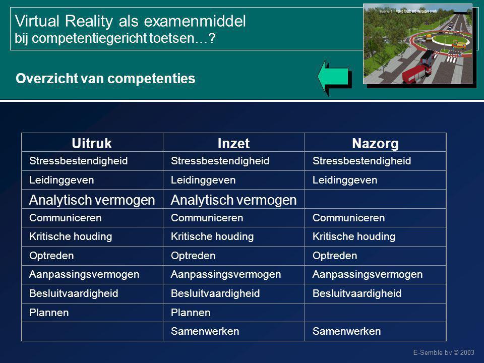 E-Semble bv © 2003 Virtual Reality als examenmiddel bij competentiegericht toetsen…? Overzicht van competenties UitrukInzetNazorg Stressbestendigheid