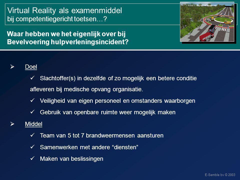 E-Semble bv © 2003 Virtual Reality als examenmiddel bij competentiegericht toetsen…?