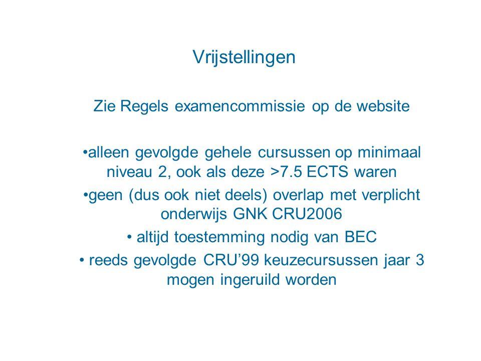 Vrijstellingen Zie Regels examencommissie op de website alleen gevolgde gehele cursussen op minimaal niveau 2, ook als deze >7.5 ECTS waren geen (dus