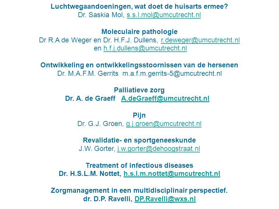 Luchtwegaandoeningen, wat doet de huisarts ermee? Dr. Saskia Mol, s.s.l.mol@umcutrecht.nls.s.l.mol@umcutrecht.nl Moleculaire pathologie Dr R.A de Wege