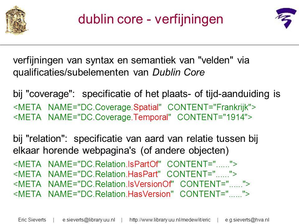 dublin core - verfijningen verfijningen van syntax en semantiek van