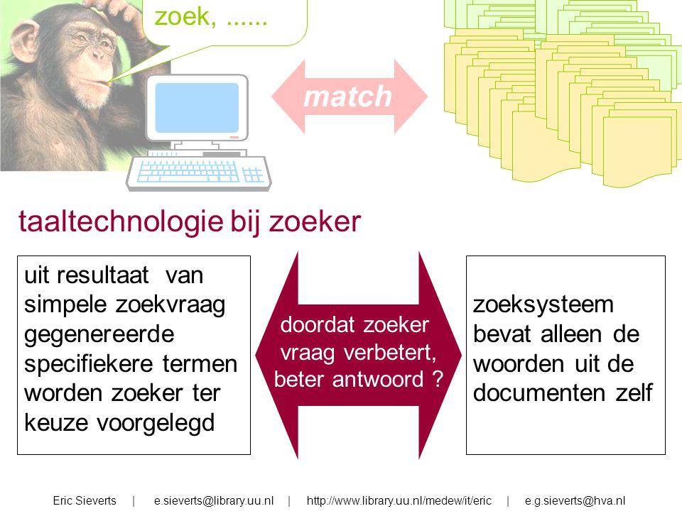 zoek, zoek,...... Eric Sieverts | e.sieverts@library.uu.nl | http://www.library.uu.nl/medew/it/eric | e.g.sieverts@hva.nl taaltechnologie bij zoeker u