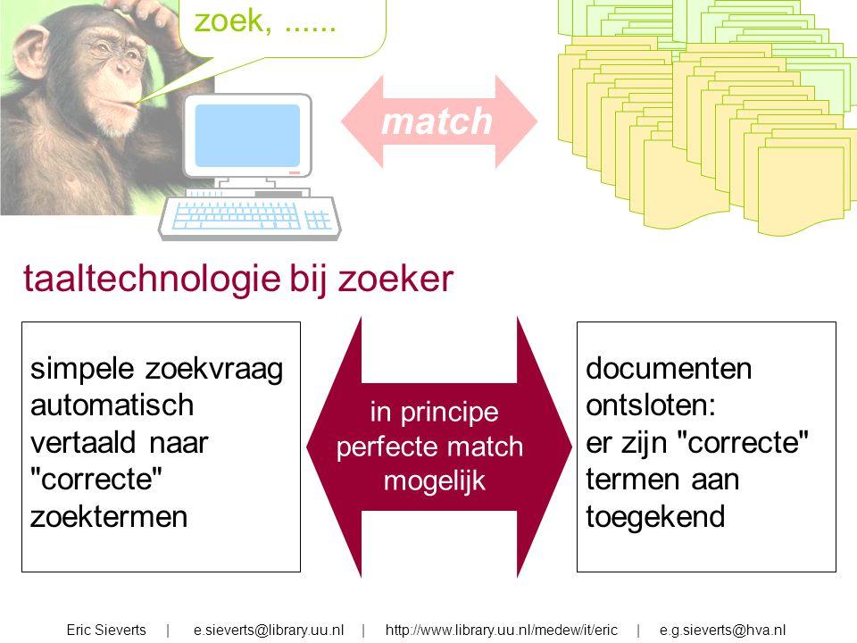 zoek, zoek,...... Eric Sieverts | e.sieverts@library.uu.nl | http://www.library.uu.nl/medew/it/eric | e.g.sieverts@hva.nl taaltechnologie bij zoeker s