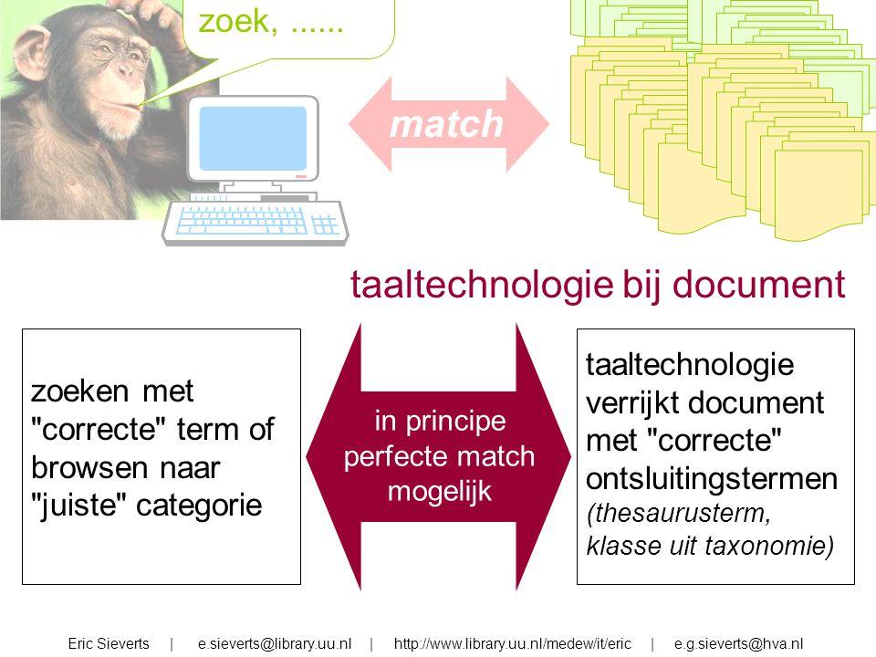 zoek, zoek,...... Eric Sieverts | e.sieverts@library.uu.nl | http://www.library.uu.nl/medew/it/eric | e.g.sieverts@hva.nl taaltechnologie bij document