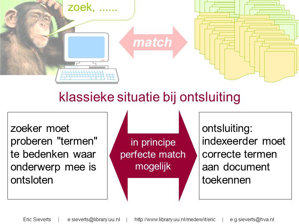 zoek, zoek,...... match Eric Sieverts | e.sieverts@library.uu.nl | http://www.library.uu.nl/medew/it/eric | e.g.sieverts@hva.nl klassieke situatie bij