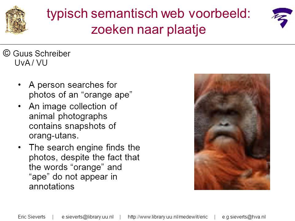 Eric Sieverts | e.sieverts@library.uu.nl | http://www.library.uu.nl/medew/it/eric | e.g.sieverts@hva.nl typisch semantisch web voorbeeld: zoeken naar