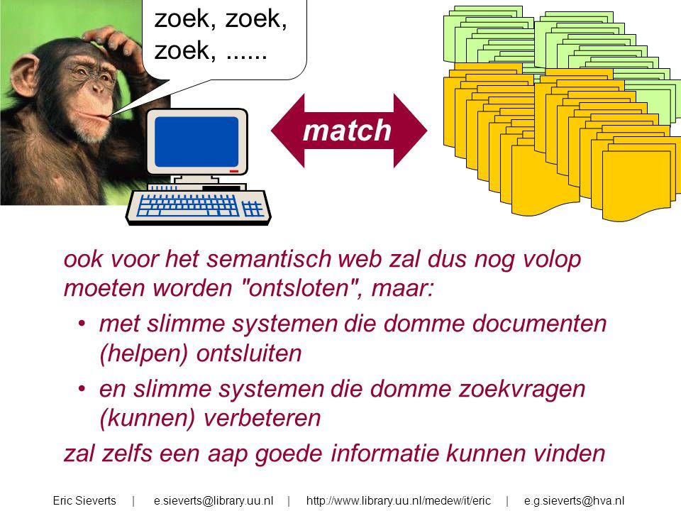 zoek, zoek,...... match Eric Sieverts | e.sieverts@library.uu.nl | http://www.library.uu.nl/medew/it/eric | e.g.sieverts@hva.nl ook voor het semantisc