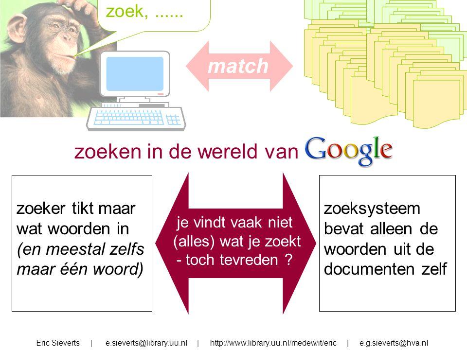 zoek, zoek,...... Eric Sieverts | e.sieverts@library.uu.nl | http://www.library.uu.nl/medew/it/eric | e.g.sieverts@hva.nl zoeken in de wereld van zoek