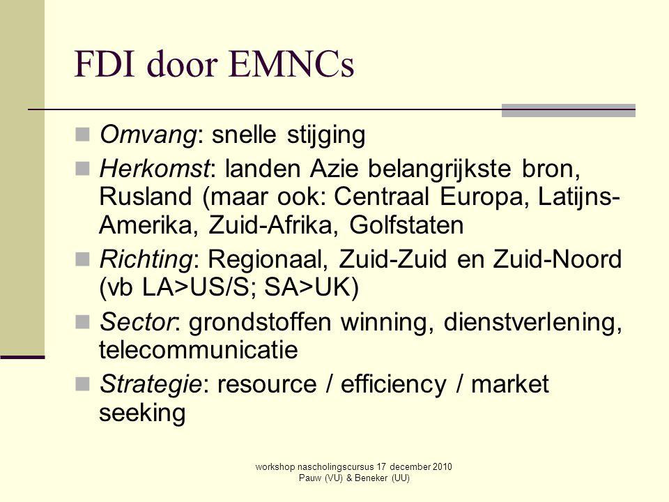 workshop nascholingscursus 17 december 2010 Pauw (VU) & Beneker (UU) FDI door EMNCs Omvang: snelle stijging Herkomst: landen Azie belangrijkste bron,
