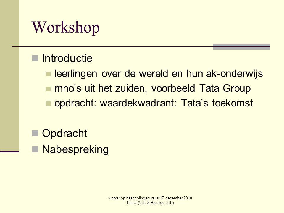 workshop nascholingscursus 17 december 2010 Pauw (VU) & Beneker (UU) Workshop Introductie leerlingen over de wereld en hun ak-onderwijs mno's uit het