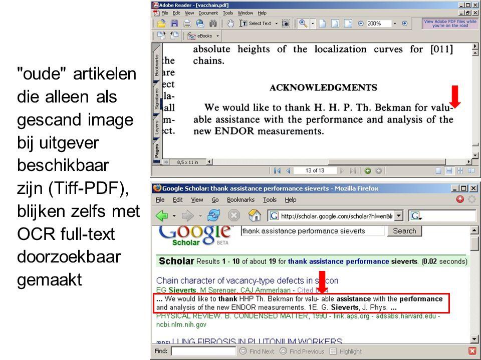 oude artikelen die alleen als gescand image bij uitgever beschikbaar zijn (Tiff-PDF), blijken zelfs met OCR full-text doorzoekbaar gemaakt