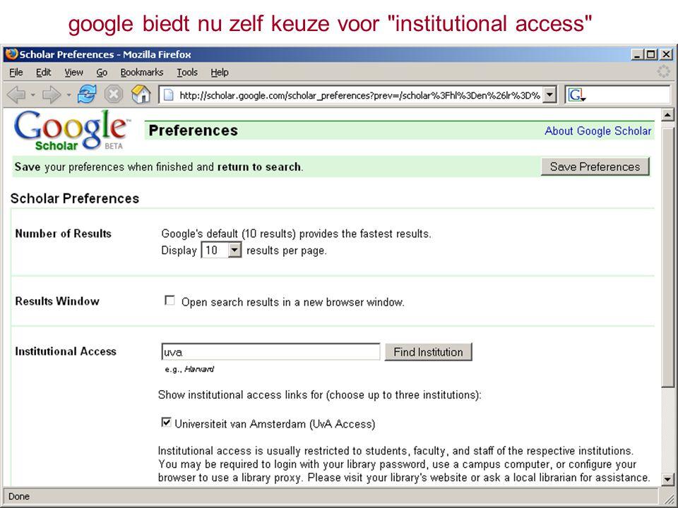 google biedt nu zelf keuze voor institutional access