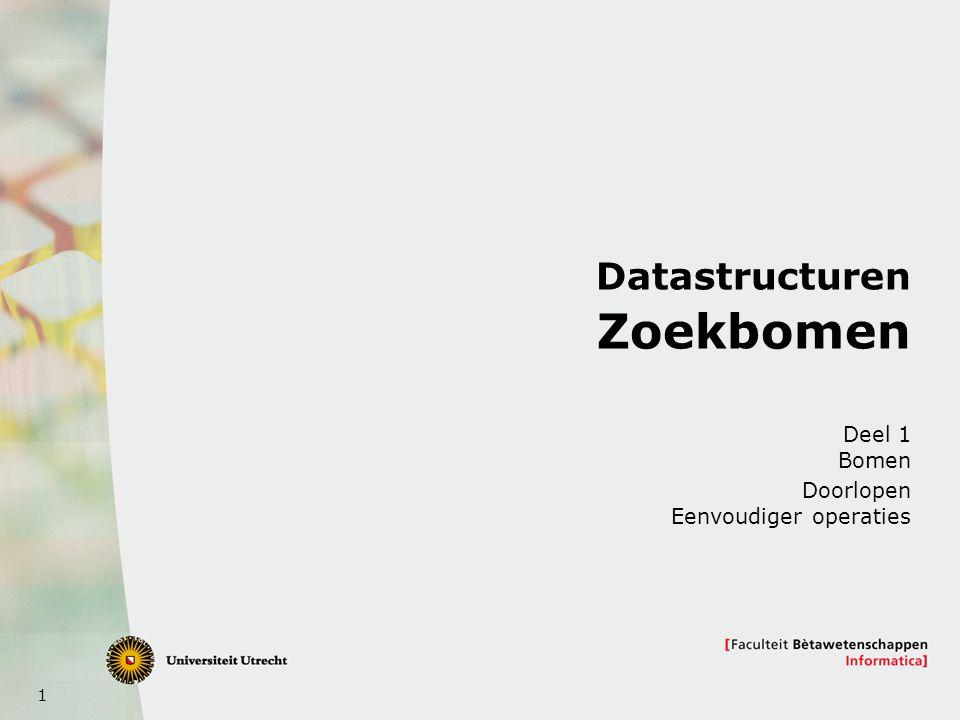 2 Dit onderwerp  Bomen: terminologie  Bomen: datastructuur voor bomen  Zoekbomen: hoe zoek ik in bomen  Volgende keer: hoe voeg ik knopen toe en haal ik knopen weg uit zoekbomen (efficient)