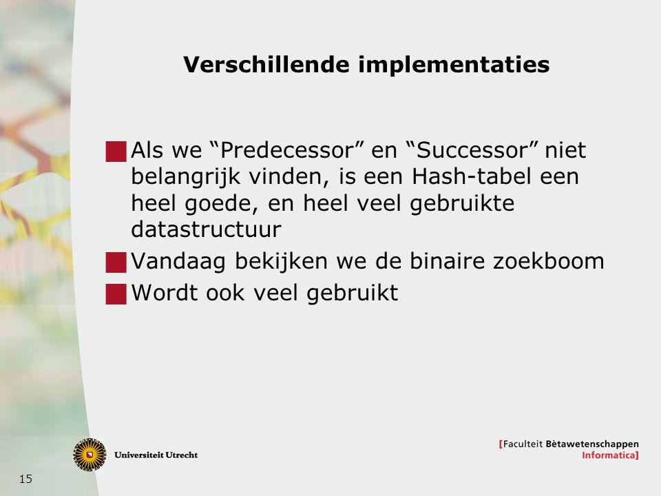 """15 Verschillende implementaties  Als we """"Predecessor"""" en """"Successor"""" niet belangrijk vinden, is een Hash-tabel een heel goede, en heel veel gebruikte"""