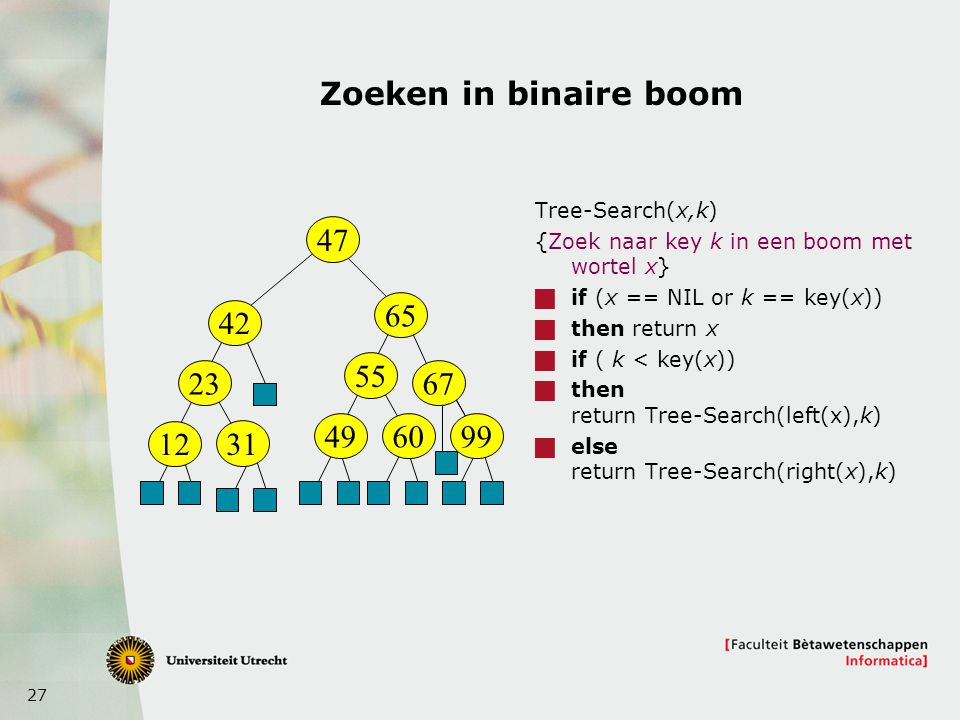27 Zoeken in binaire boom Tree-Search(x,k) {Zoek naar key k in een boom met wortel x}  if (x == NIL or k == key(x))  then return x  if ( k < key(x)