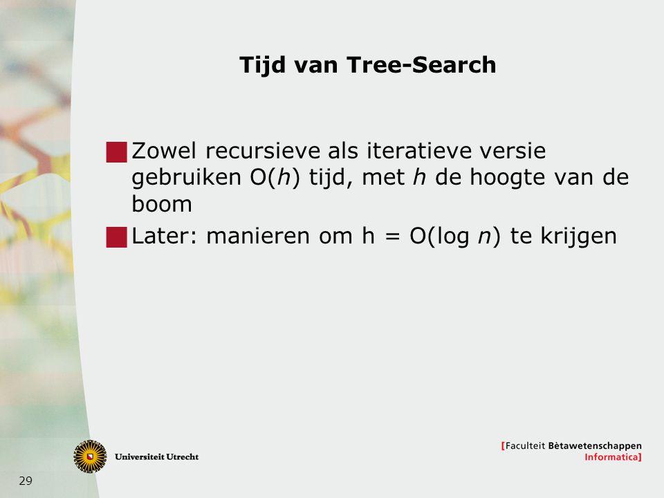 29 Tijd van Tree-Search  Zowel recursieve als iteratieve versie gebruiken O(h) tijd, met h de hoogte van de boom  Later: manieren om h = O(log n) te