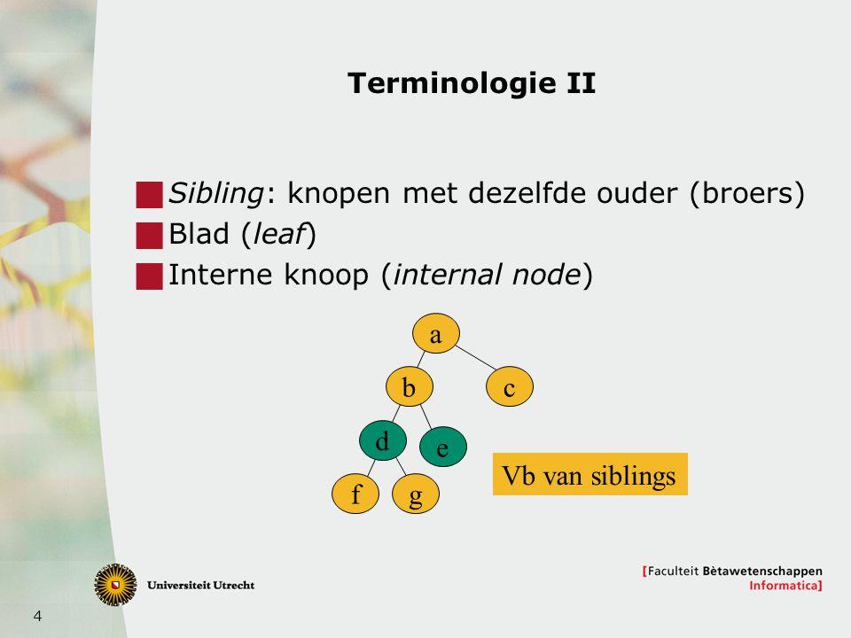 5 Terminologie III: graad  De graad van een knoop is het aantal kinderen  NB: Anders dan in grafen!.