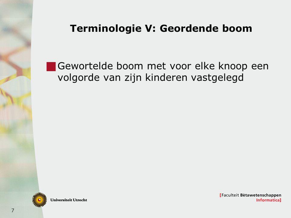 8 Terminologie VI: Deelboom geworteld bij x  De deelboom geworteld bij x (subtree rooted at x) x