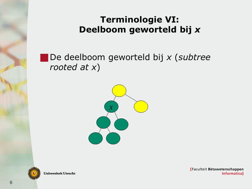 9 Binaire bomen  Een boom is een binaire boom, als  De boom leeg is (0 knopen heeft), OF  Een wortel en een linkerdeelboom en rechter- deelboom heeft Die linker- en rechter-deelboom zijn weer binair Ze mogen dus ook leeg zijn Verschillende binaire bomen!