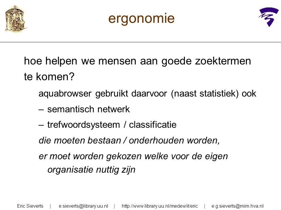 ergonomie hoe helpen we mensen aan goede zoektermen te komen? aquabrowser gebruikt daarvoor (naast statistiek) ook –semantisch netwerk –trefwoordsyste