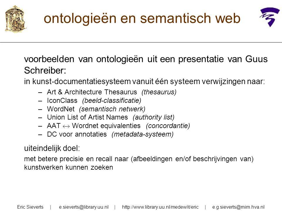 ontologieën en semantisch web voorbeelden van ontologieën uit een presentatie van Guus Schreiber: in kunst-documentatiesysteem vanuit één systeem verw
