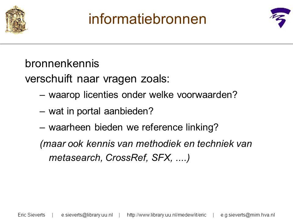 informatiebronnen zoekkennis: verschuift van: zelf goed kunnen zoeken naar: anderen kunnen leren hoe zij goed zoeken Eric Sieverts | e.sieverts@library.uu.nl | http://www.library.uu.nl/medew/it/eric | e.g.sieverts@mim.hva.nl
