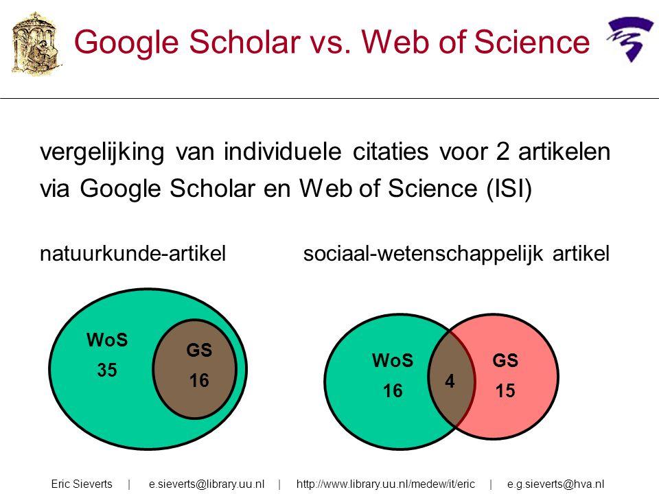 vergelijking van individuele citaties voor 2 artikelen via Google Scholar en Web of Science (ISI) natuurkunde-artikelsociaal-wetenschappelijk artikel