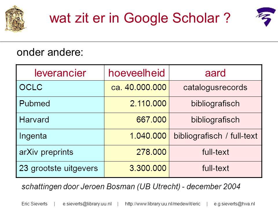 Google Scholar als citatie-index zeer voorzichtige conclusie: dekking van Scholar voor humaniora en sociale wetenschappen is wel nog minder dan voor natuurwetenschappen, toch lijkt het voor citatie-zoeken op die terreinen zeker goede aanvulling op reguliere citatie-index maar: vergelijken is nog wat hachelijk Eric Sieverts | e.sieverts@library.uu.nl | http://www.library.uu.nl/medew/it/eric | e.g.sieverts@hva.nl