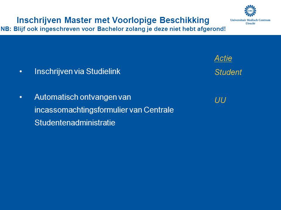 Inschrijven via Studielink Automatisch ontvangen van incassomachtingsformulier van Centrale Studentenadministratie Inschrijven Master met Voorlopige B