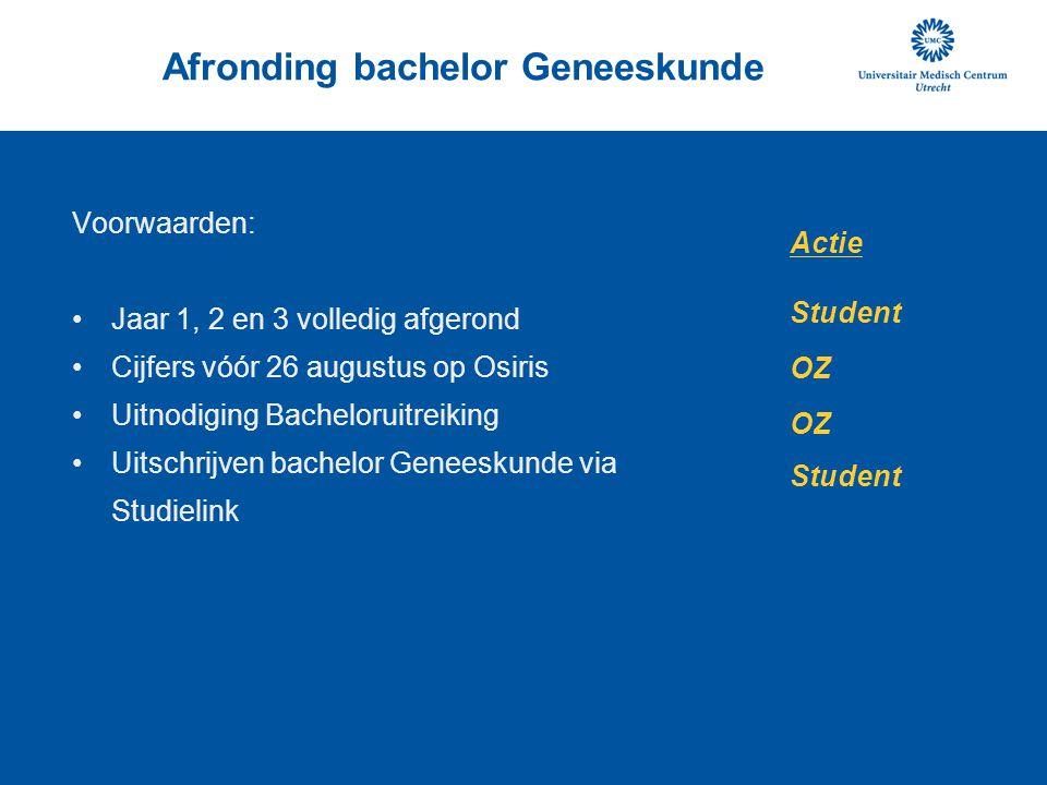 Afronding bachelor Geneeskunde Voorwaarden: Jaar 1, 2 en 3 volledig afgerond Cijfers vóór 26 augustus op Osiris Uitnodiging Bacheloruitreiking Uitschr
