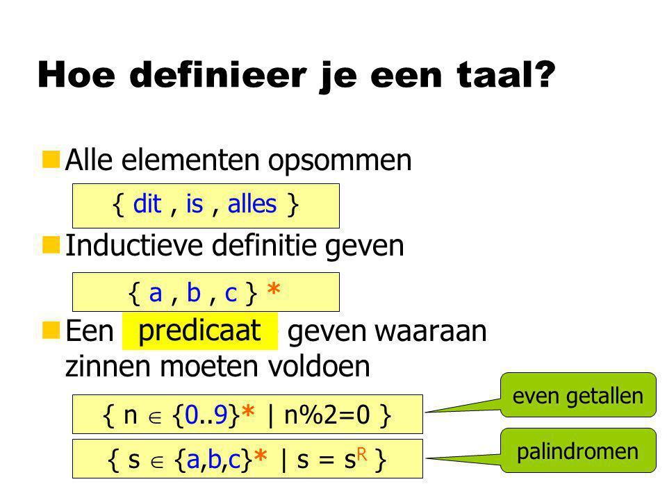 Hoe definieer je een taal? nAlle elementen opsommen nInductieve definitie geven nEen voorwaarde geven waaraan zinnen moeten voldoen { dit, is, alles }