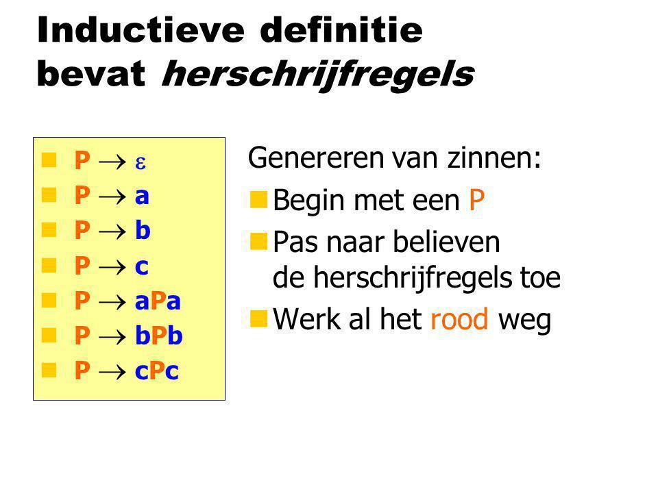 Inductieve definitie bevat herschrijfregels Genereren van zinnen: nBegin met een P nPas naar believen de herschrijfregels toe nWerk al het rood weg P