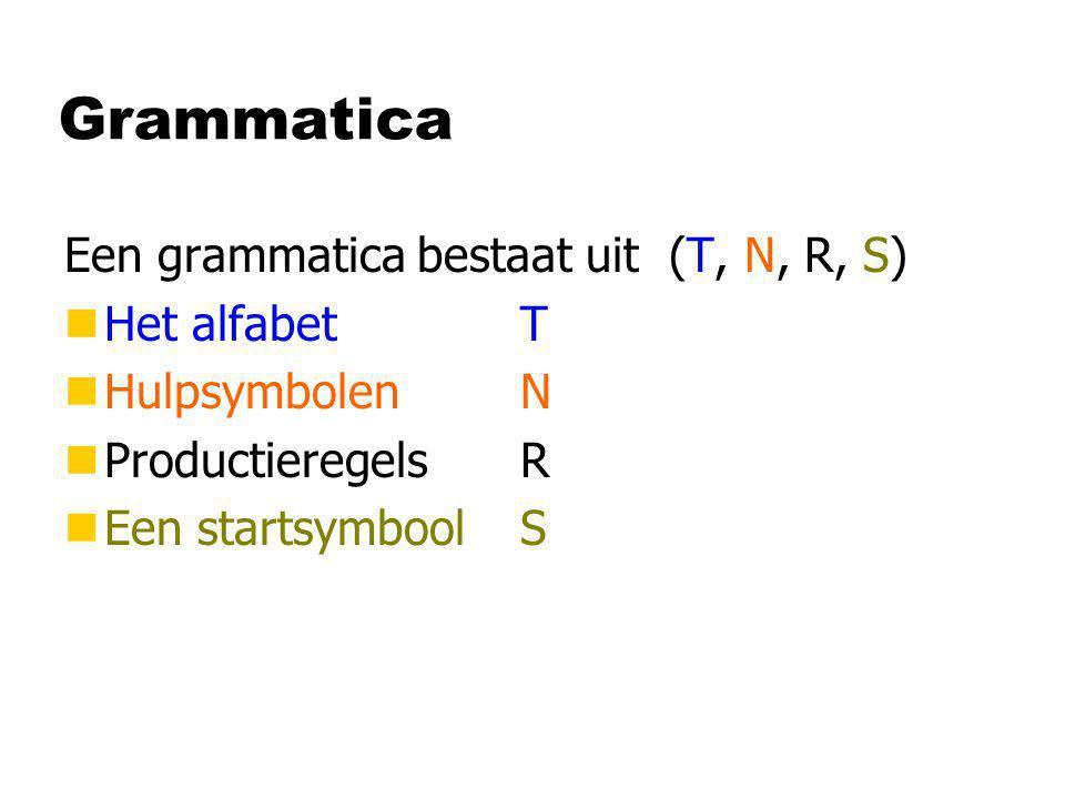 Grammatica Een grammatica bestaat uit (T, N, R, S) nHet alfabet T nHulpsymbolen N nProductieregels R nEen startsymbool S