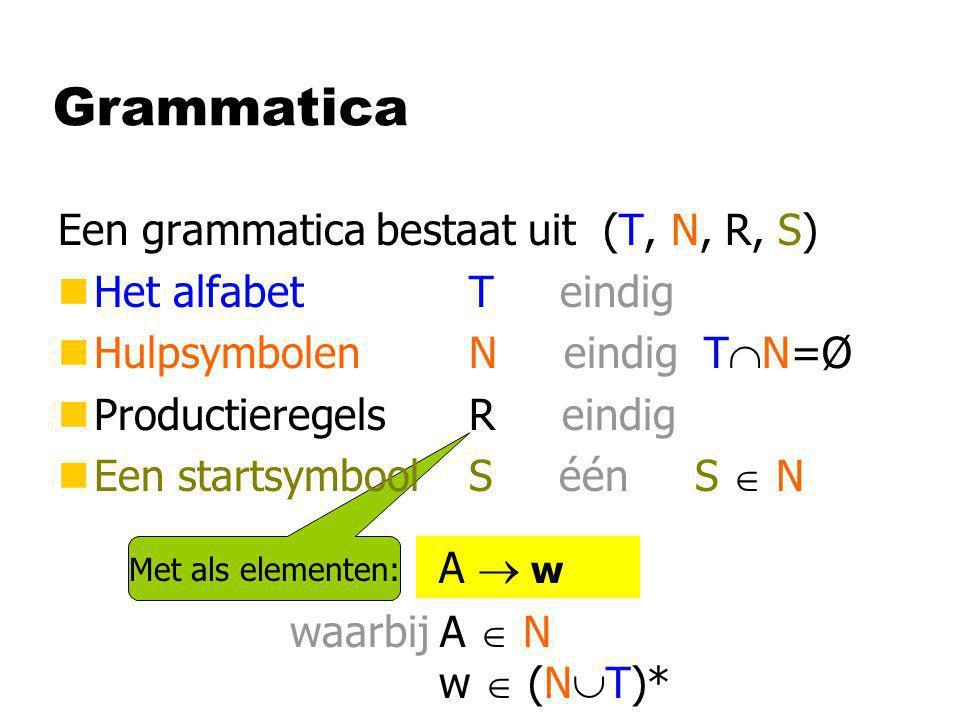 Met als elementen: Grammatica Een grammatica bestaat uit (T, N, R, S) nHet alfabet T eindig nHulpsymbolen N eindig T  N=Ø nProductieregels R eindig n